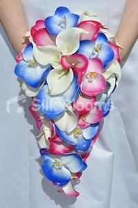 Blue Calla Lily & Orchid Wedding Bridal Bouquet